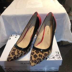Leopard print , red and black patent pumps
